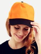 Romwe Orange With Black Brim Peak Cap