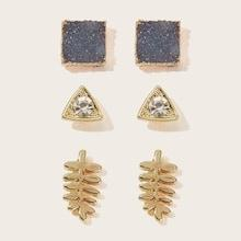 Romwe Triangle & Square Shaped Stud Earrings 3pairs