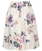 Romwe Floral Pleated Midi Skirt