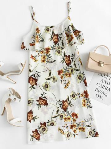 Romwe Floral Print Ruffle Trim Cami Dress