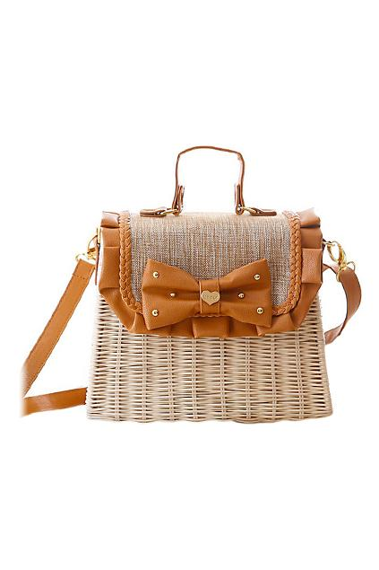 Romwe Bowkont Embellished Woven Bag