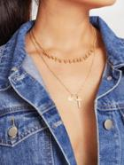 Romwe Cross & Sequin Pendant Layered Chain Necklace
