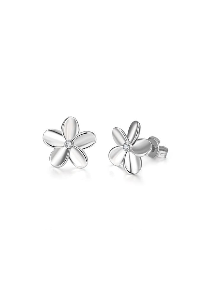 Romwe Rhinestone Embellished Flower Stud Earrings