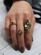 Romwe Rhinestone Ring 3pcs