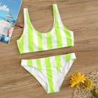 Romwe Neon Lime Striped Top With Seam Bikini Set