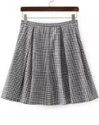 Romwe Black White Plaid Pleated Skirt