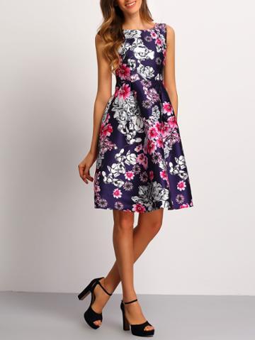 Romwe Florals A-line Dress