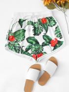 Romwe Floral Print Drawstring Shorts