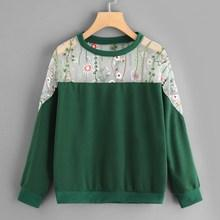 Romwe Floral Embroidery Cut And Sew Sweatshirt
