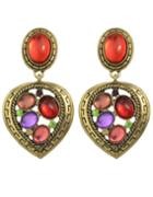 Romwe Colorful Gemstone Heart Earrings