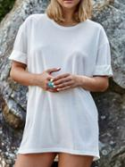 Romwe White Cuffed Tshirt Dress