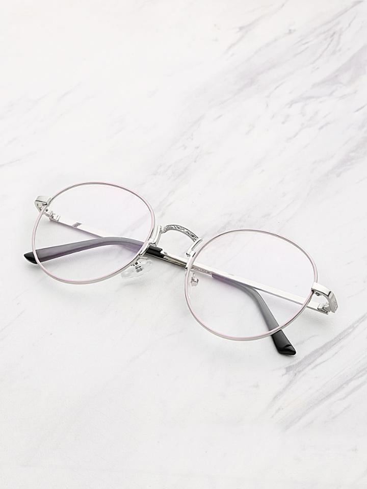 Romwe Metal Frame Clear Lens Round Glasses
