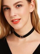 Romwe Black Ribbon Oval Gemstone Vintage Choker Necklace