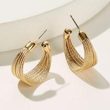 Romwe Multi Layered Cut Hoop Stud Earrings 1pair