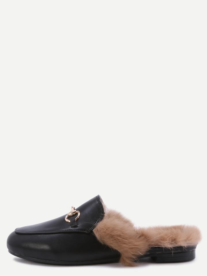 Romwe Black Faux Leather Fur Lined Slippers