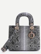 Romwe Grey Snake Embossed Handbag With Strap