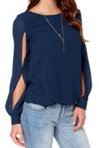 Romwe Cut-out Sleeved Chiffon Blouse