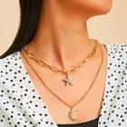Romwe Moon & Star Charm Double Layered Chain Necklace 1pc