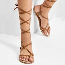 Romwe Lace Up Knee High Gladiator Sandal Boots