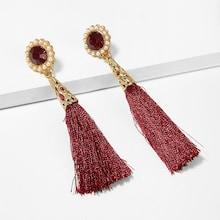 Romwe Gemstone Detail Tassel Drop Earrings 1pair