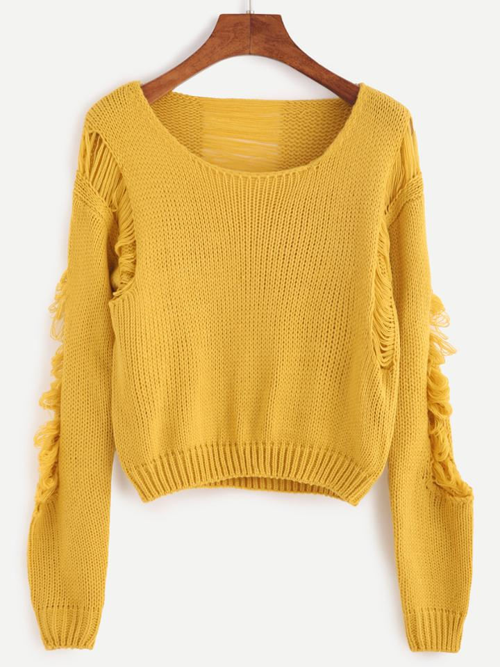Romwe Ginger Ripped Crop Sweater