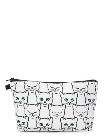 Romwe Cat Print Makeup Bag