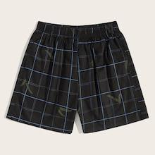 Romwe Guys Leaf & Plaid Print Bermuda Shorts