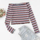 Romwe Lettuce Trim Striped Knit Tee