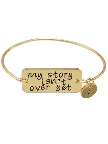 Romwe Gold  Color Letters Printed Bracelets Bangles