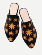 Romwe Leaf Embroidery Flat Mules