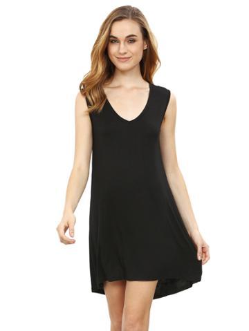 Romwe Black Minis Sleeveless Vest Casual Dress