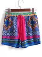 Romwe Drawstring Vintage Print Shorts