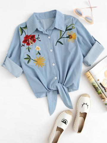 Romwe Embroidered Roll Up Sleeve Self Tie Denim Shirt