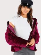 Romwe Velvet Hooded Puffer Coat