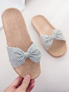 Romwe Striped Bow Flat Sliders