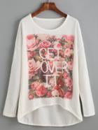 Romwe White Flower Print High Low T-shirt