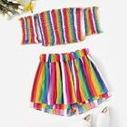Romwe Lettuce Frill Shirred Colorful Striped Top With Shorts