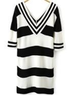 Romwe V Neck Striped Knit Black Dress