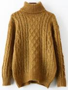 Romwe Turtleneck Cable Knit Loose Yellow Sweater
