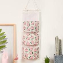 Romwe Peach Print Hanging Storage Bag