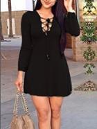 Romwe Long Sleeve Bandage A-line Black Dress