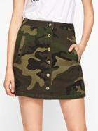 Romwe Button Through Camo Skirt
