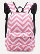 Romwe Pink Chevron Front Pocket Canvas Backpack
