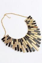 Romwe Tassel Shaped Black And Golden Necklace