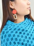 Romwe Red Wood Geometric Shape Drop Earrings