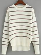Romwe Striped Dip Hem Loose Sweater