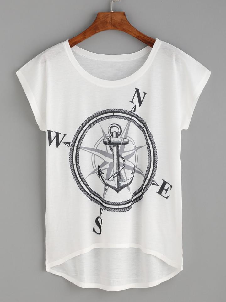 Romwe White Compass And Anchor Print High Low T-shirt