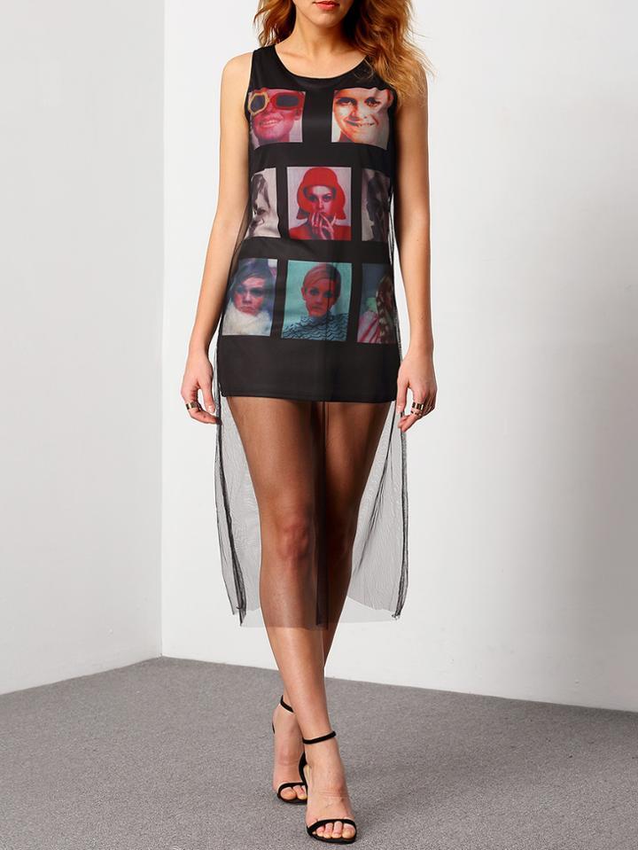 Romwe Sleeveless Printed Causal Tshirt Dress