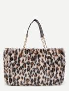 Romwe Leopard Print Faux Fur Overlay Tote Bag