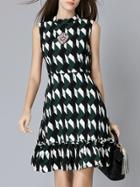 Romwe Black Color Block Beading Frill Dress